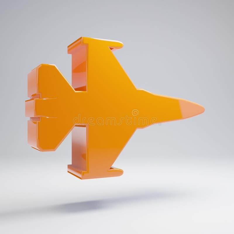 在白色背景隔绝的容量光滑的热的橙色喷气式歼击机象 库存例证