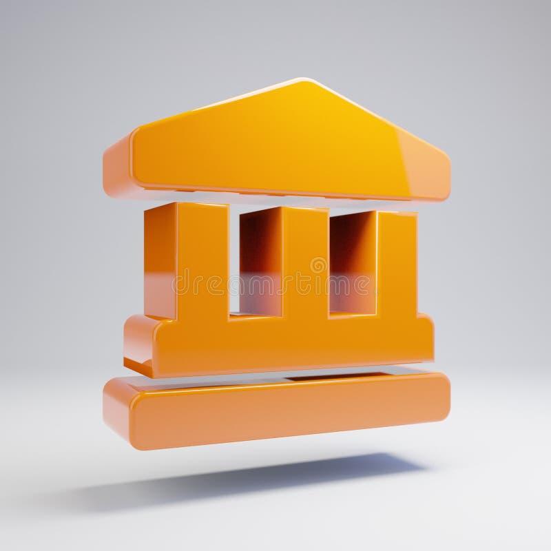在白色背景隔绝的容量光滑的热的橙色地标象 库存例证
