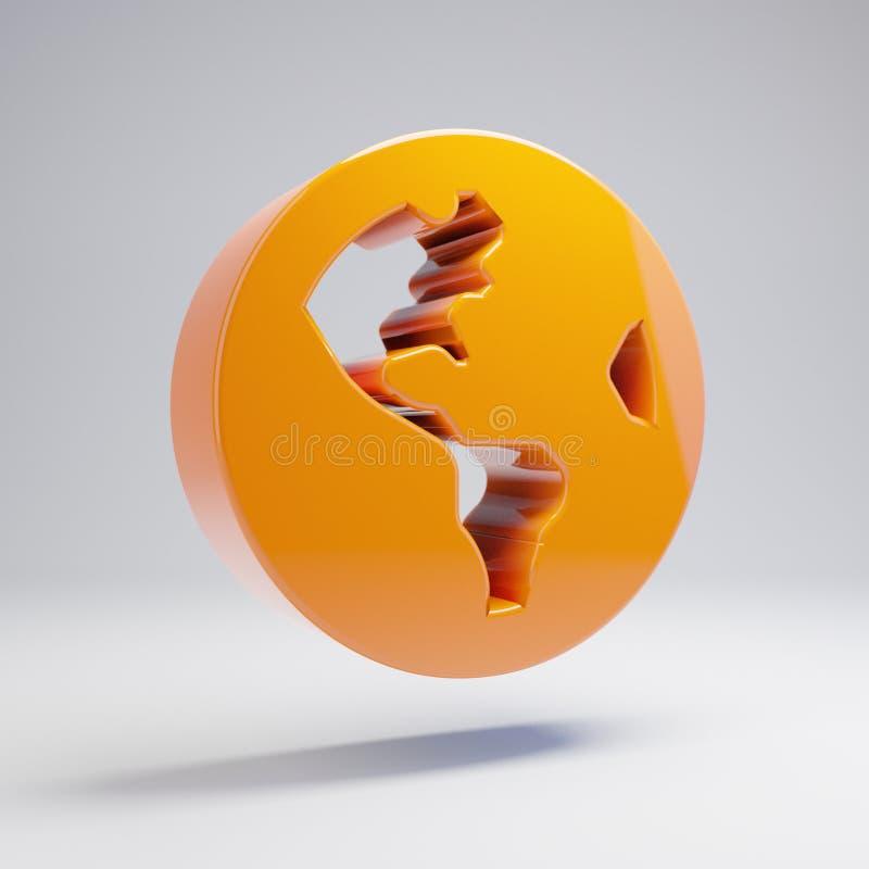 在白色背景隔绝的容量光滑的热的橙色地球美国象 库存例证