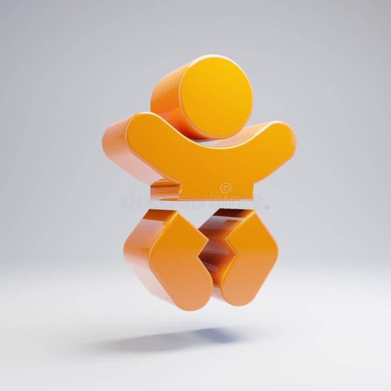 在白色背景隔绝的容量光滑的热的橙色婴孩象 库存例证