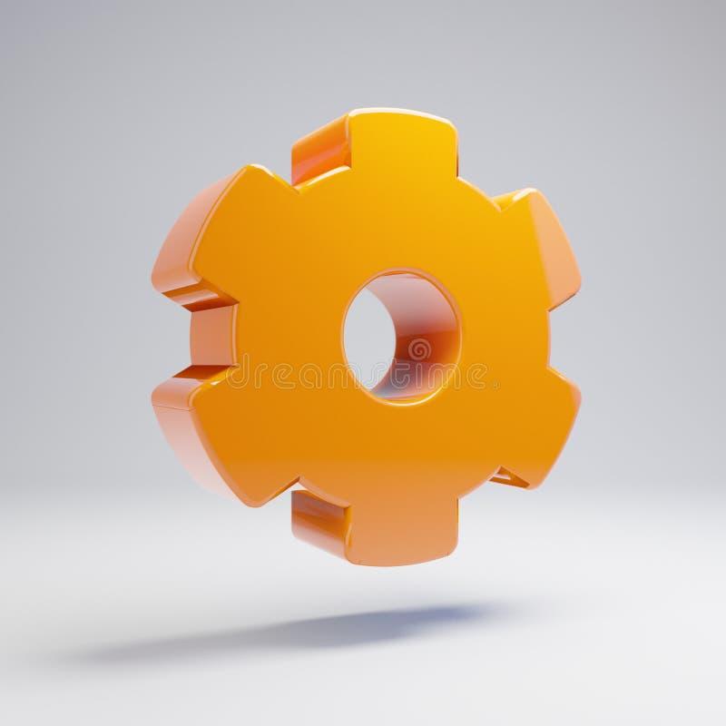 在白色背景隔绝的容量光滑的热的橙色嵌齿轮象 皇族释放例证