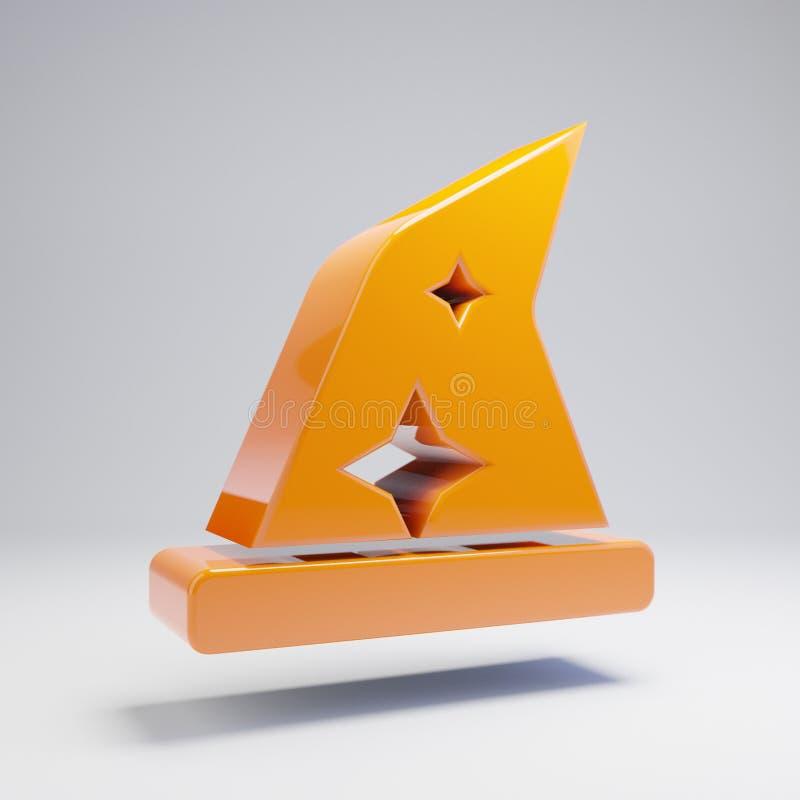 在白色背景隔绝的容量光滑的热的橙色帽子Wizzard象 向量例证