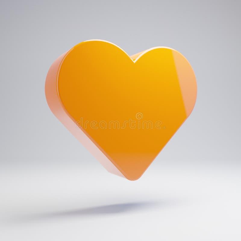 在白色背景隔绝的容量光滑的热的橙色心脏象 向量例证