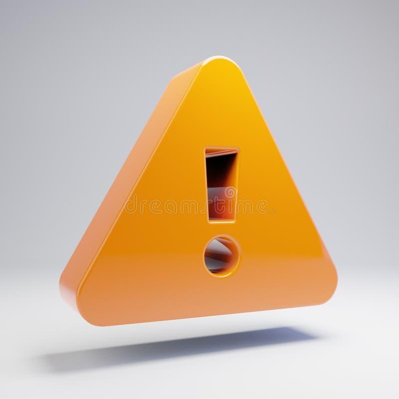 在白色背景隔绝的容量光滑的热的橙色惊叫三角象 皇族释放例证