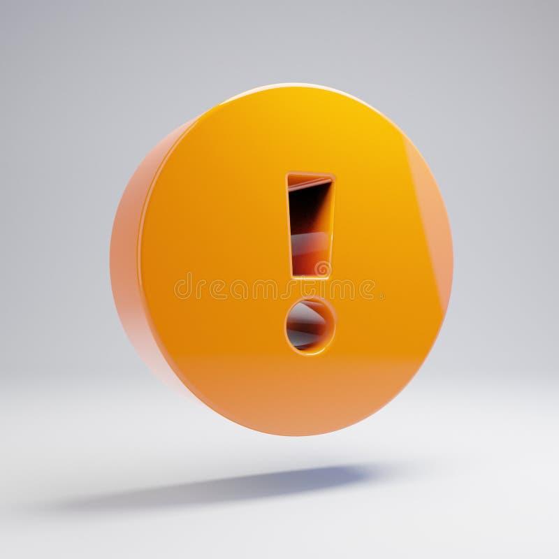 在白色背景隔绝的容量光滑的热的橙色惊叫圈子象 库存例证