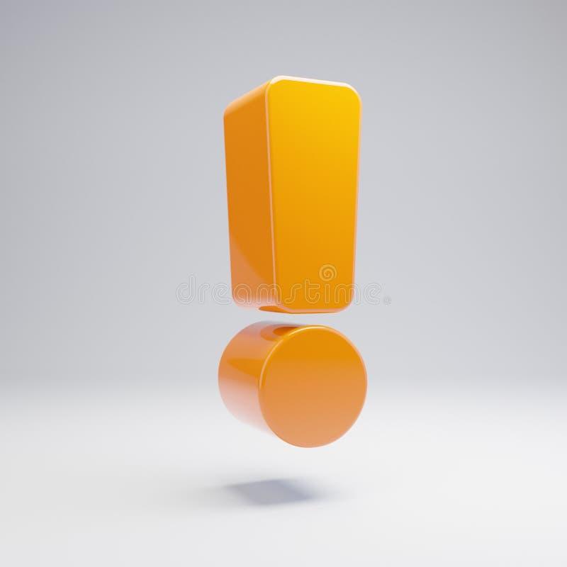 在白色背景隔绝的容量光滑的热的橙色惊叫象 库存例证