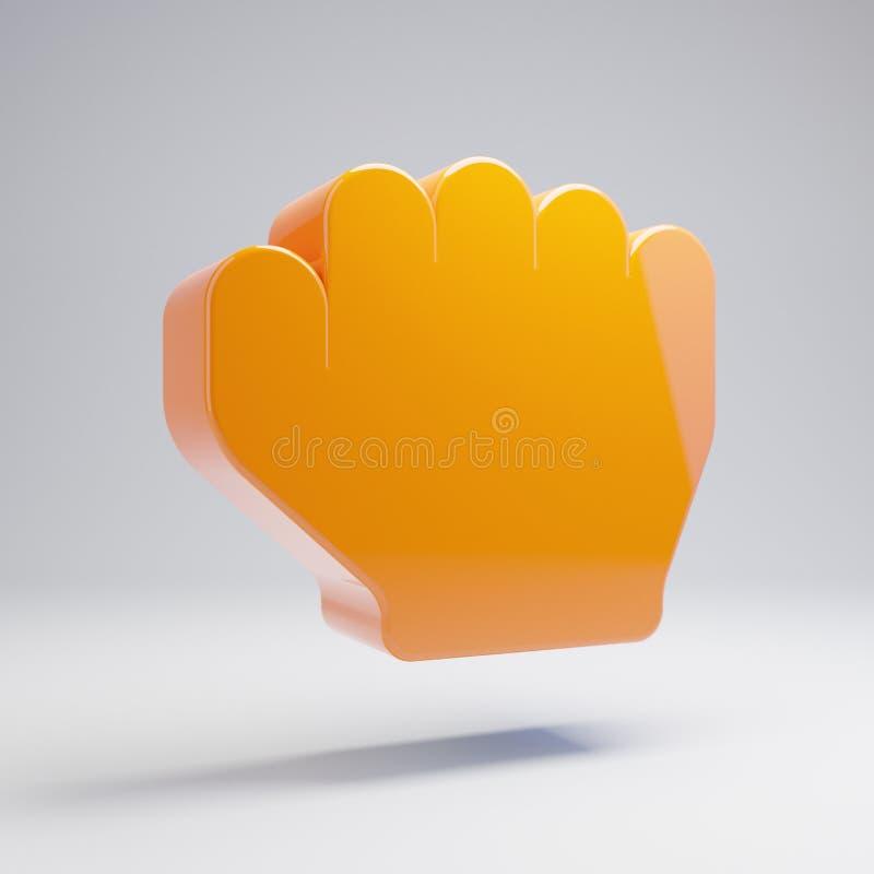在白色背景隔绝的容量光滑的热的橙色手岩石象 皇族释放例证