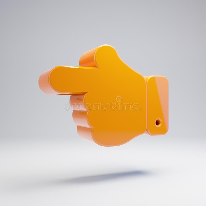 在白色背景隔绝的容量光滑的热的橙色手点左边象 皇族释放例证