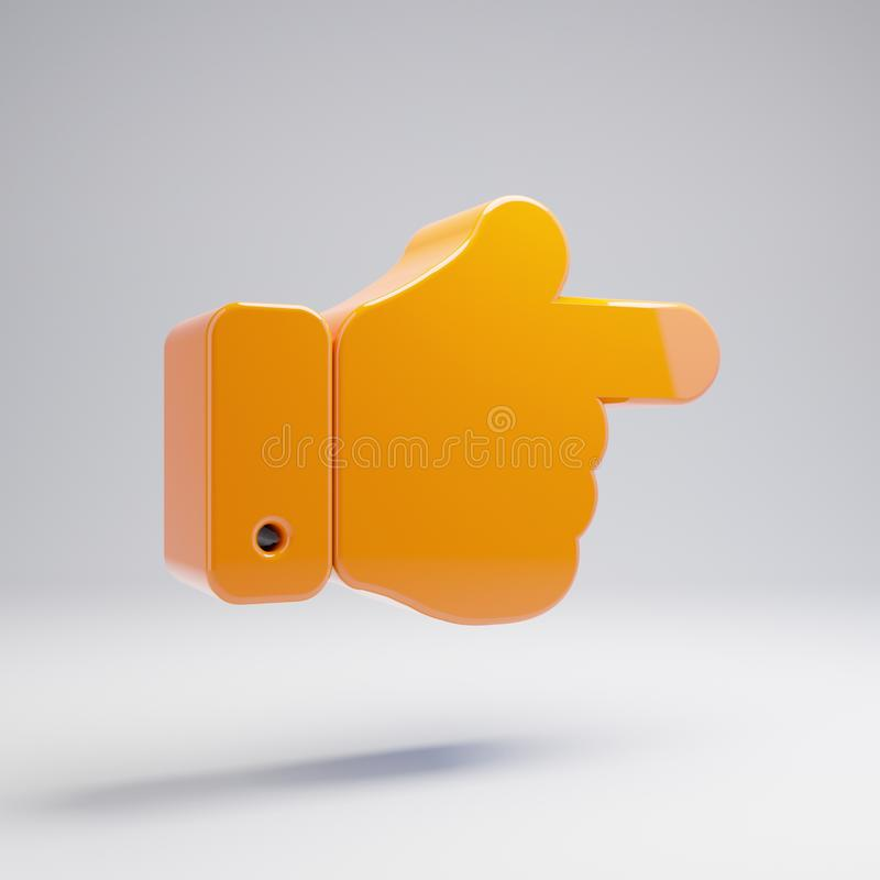 在白色背景隔绝的容量光滑的热的橙色手点权利象 皇族释放例证