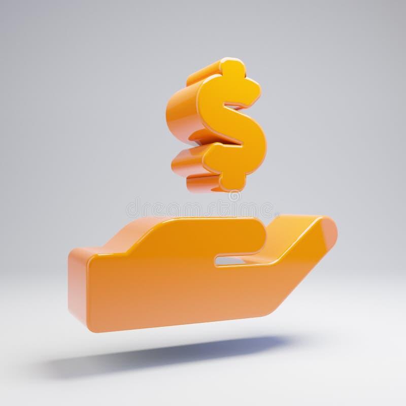 在白色背景隔绝的容量光滑的热的橙色手藏品美元象 向量例证