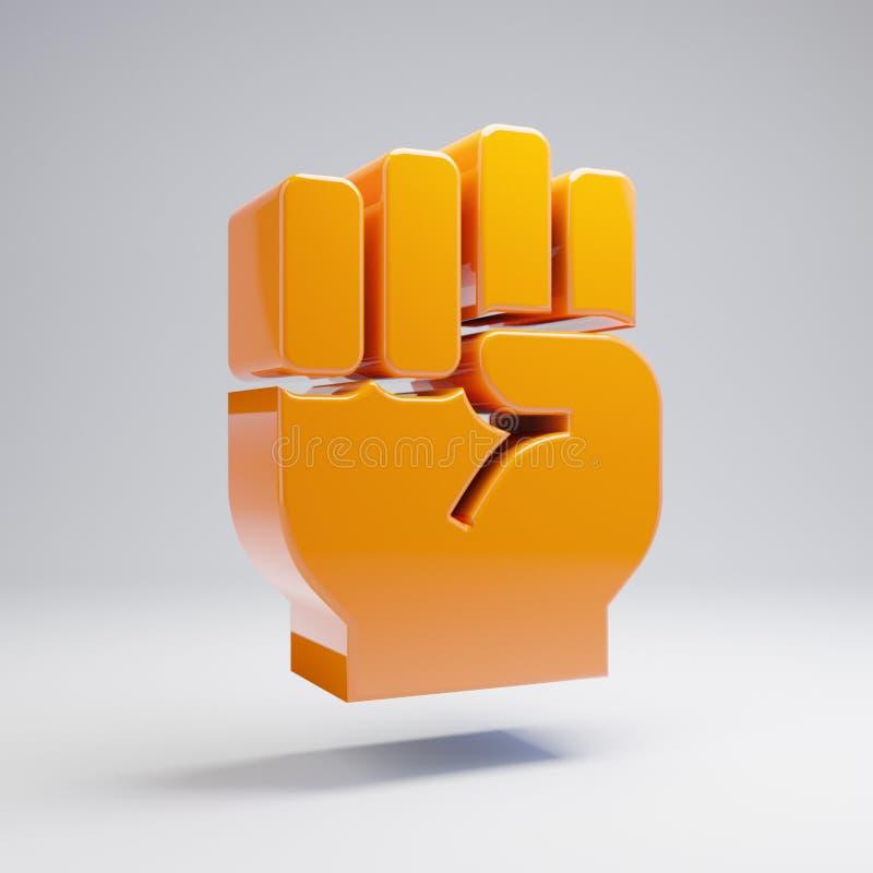 在白色背景隔绝的容量光滑的热的橙色拳头象 库存例证