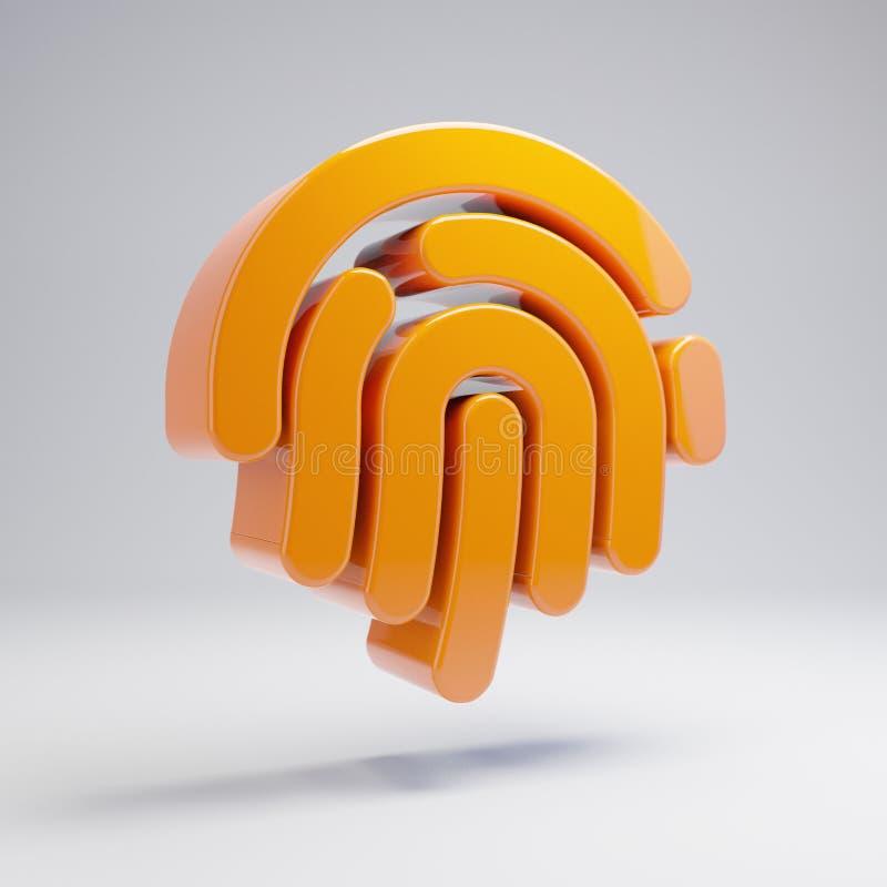 在白色背景隔绝的容量光滑的热的橙色指纹象 皇族释放例证