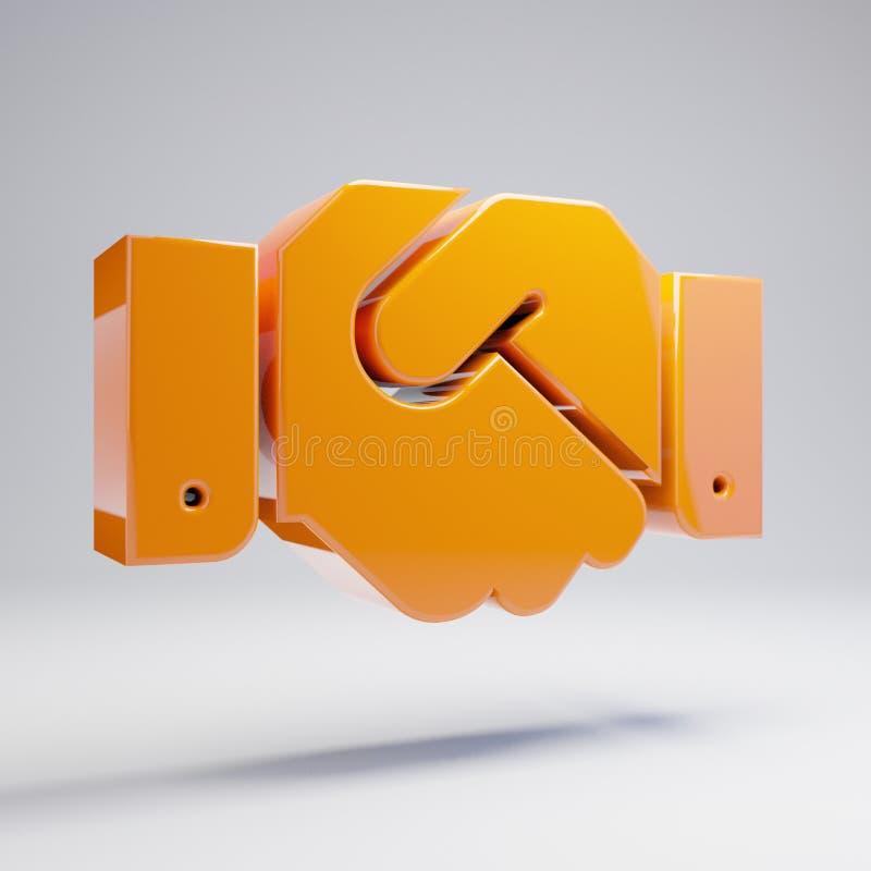 在白色背景隔绝的容量光滑的热的橙色握手象 向量例证