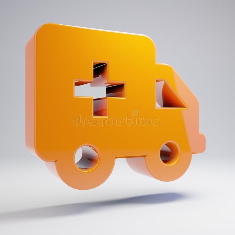 在白色背景隔绝的容量光滑的热的橙色救护车象 皇族释放例证
