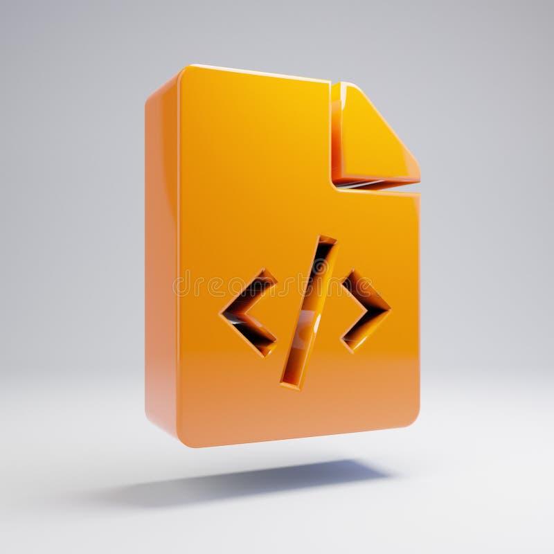 在白色背景隔绝的容量光滑的热的橙色文件代码象 皇族释放例证