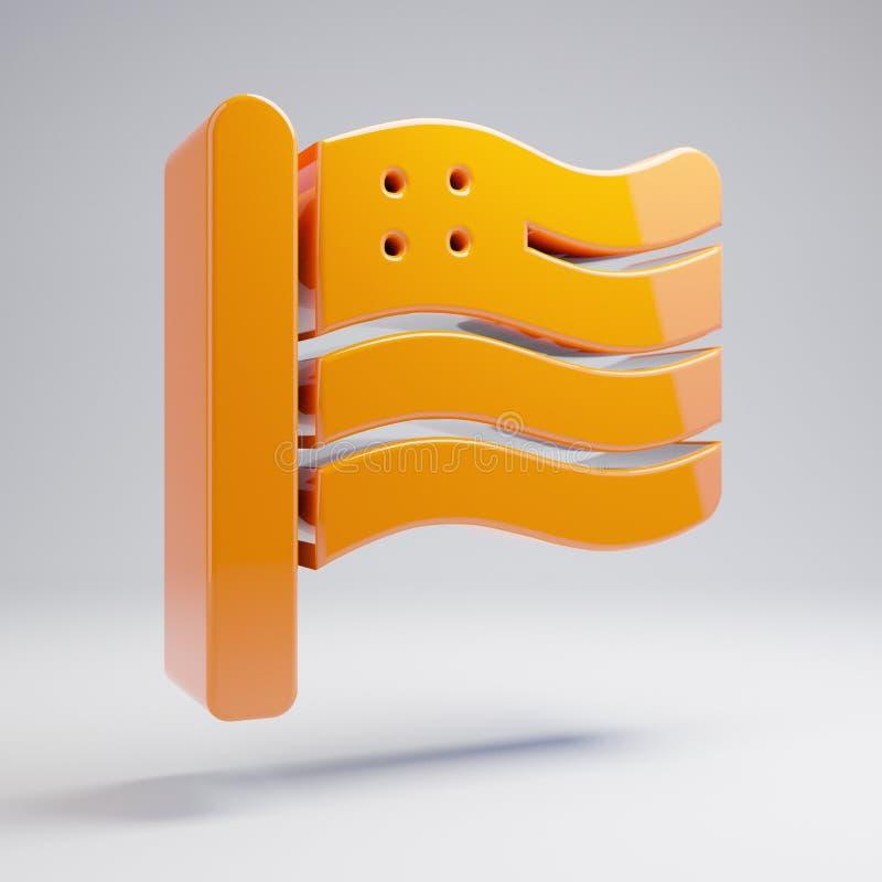 在白色背景隔绝的容量光滑的热的橙色旗子美国象 库存例证