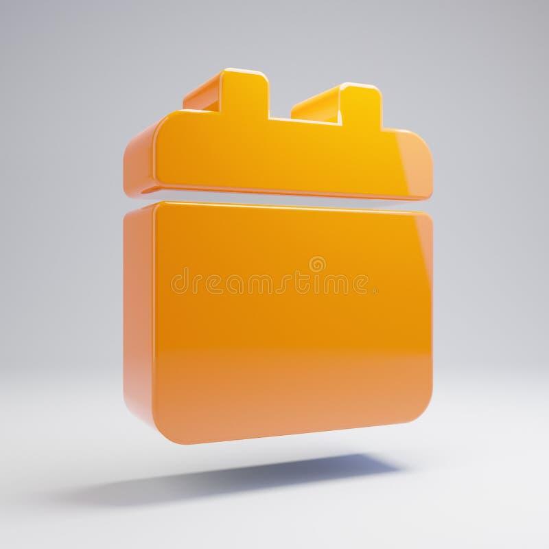在白色背景隔绝的容量光滑的热的橙色日历象 皇族释放例证