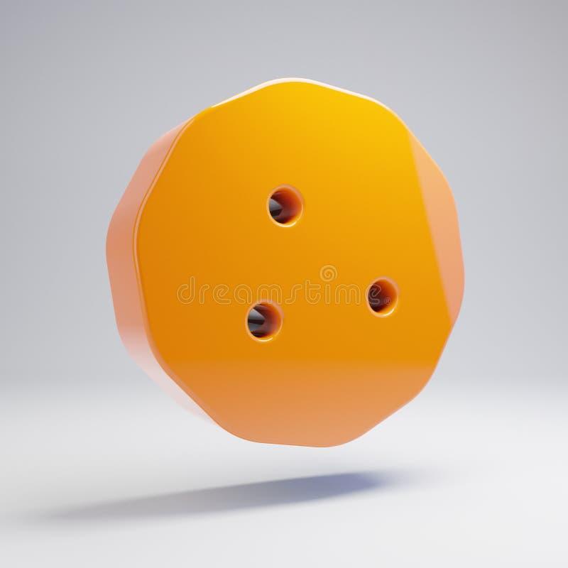 在白色背景隔绝的容量光滑的热的橙色曲奇饼象 皇族释放例证