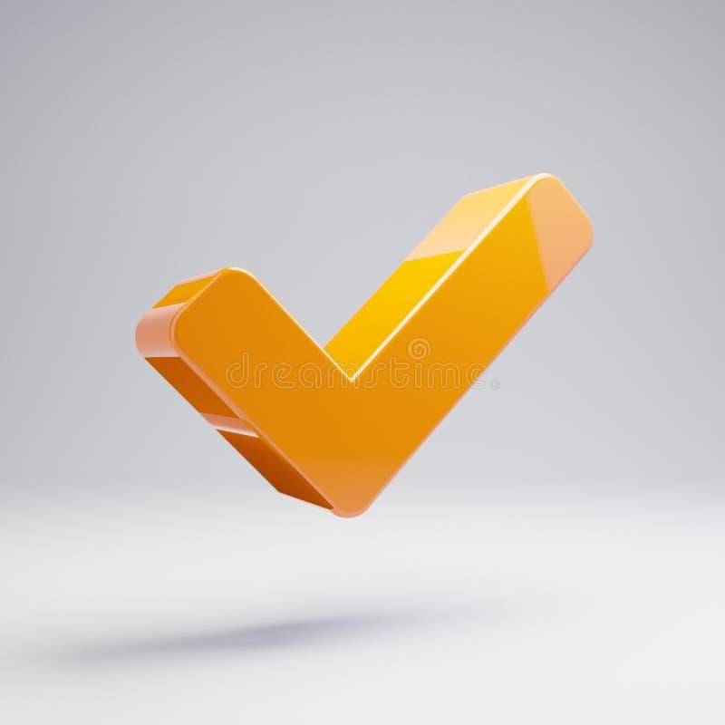 在白色背景隔绝的容量光滑的热的橙色检查象 库存例证