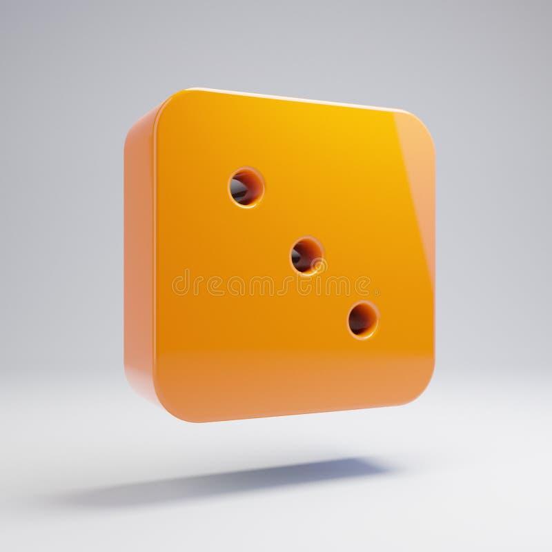 在白色背景隔绝的容量光滑的热的橙色模子三象 库存例证