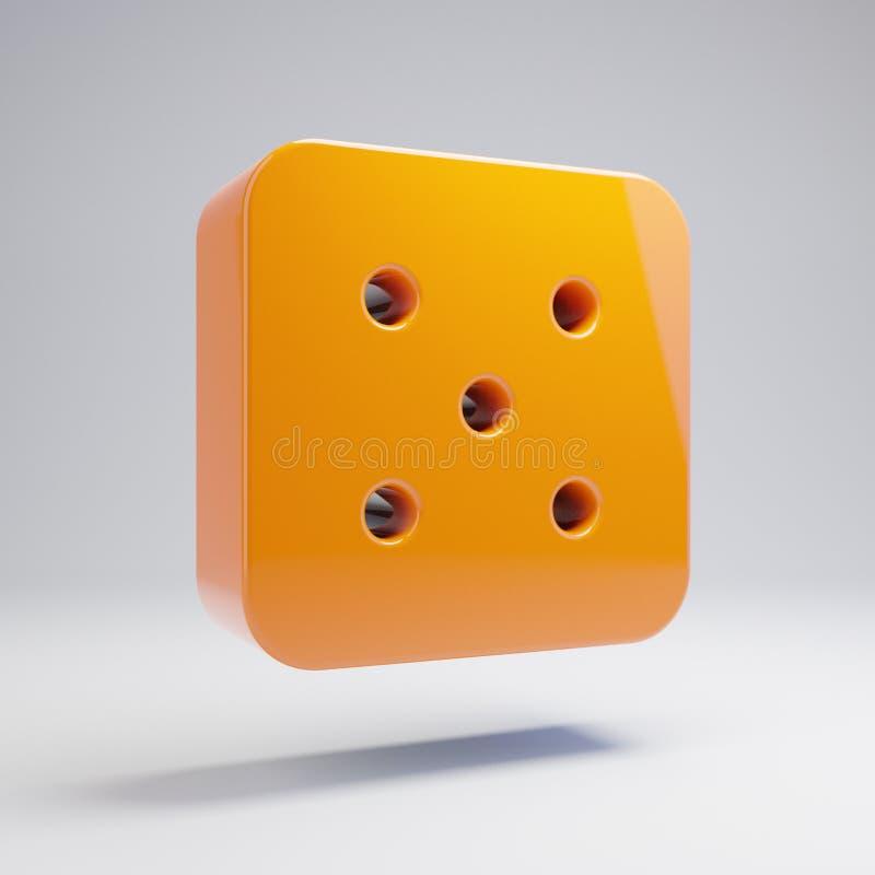 在白色背景隔绝的容量光滑的热的橙色模子五象 库存例证
