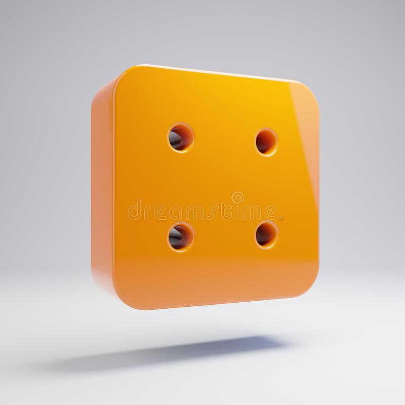 在白色背景隔绝的容量光滑的热的橙色模子四象 向量例证