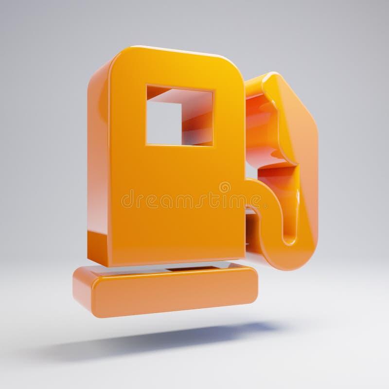 在白色背景隔绝的容量光滑的热的橙色气泵象 皇族释放例证