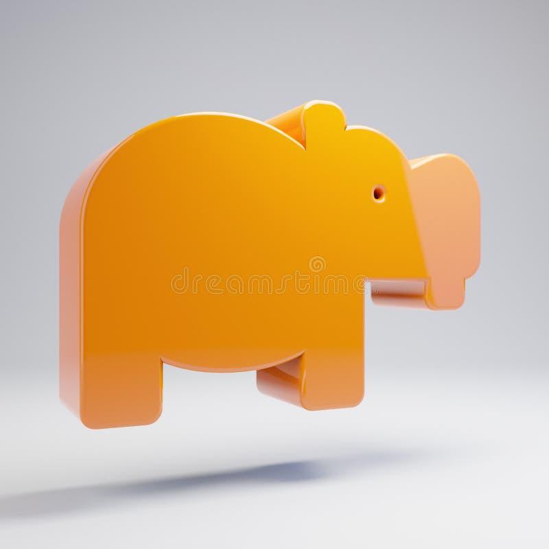 在白色背景隔绝的容量光滑的热的橙色河马象 库存例证
