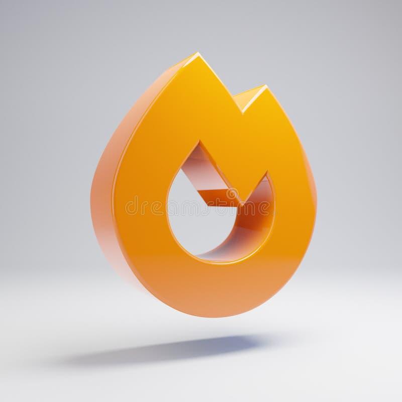 在白色背景隔绝的容量光滑的热的橙色火象 向量例证
