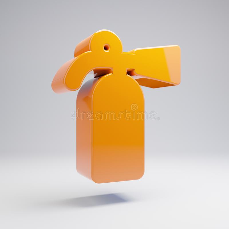 在白色背景隔绝的容量光滑的热的橙色灭火器象 皇族释放例证