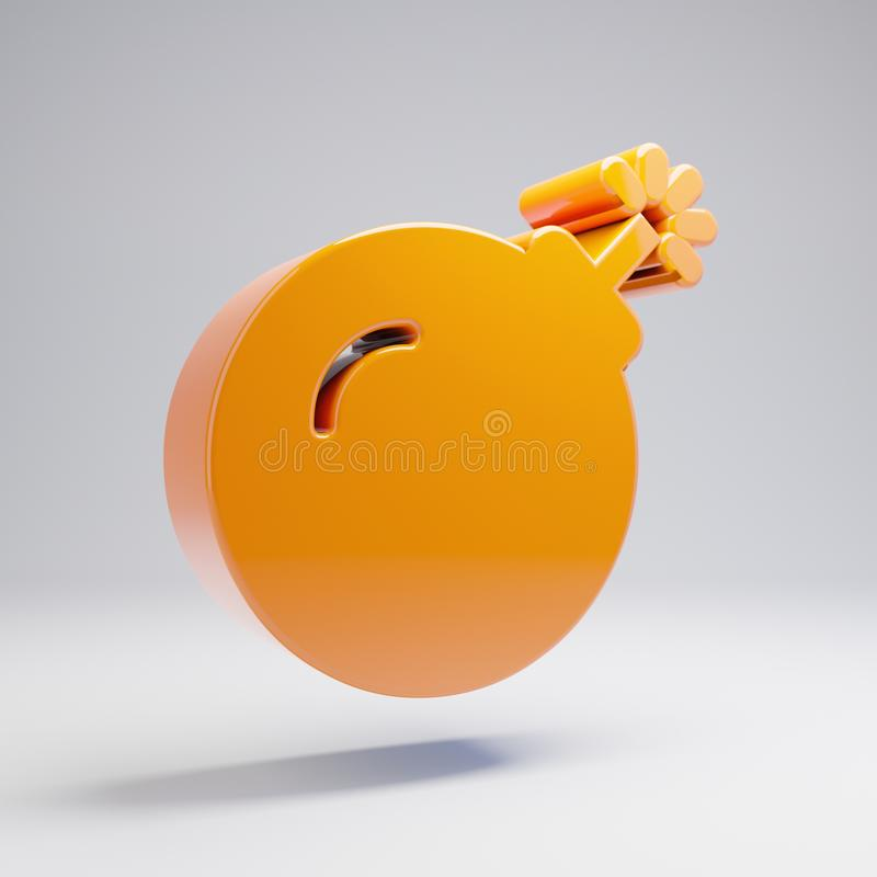 在白色背景隔绝的容量光滑的热的橙色炸弹象 向量例证