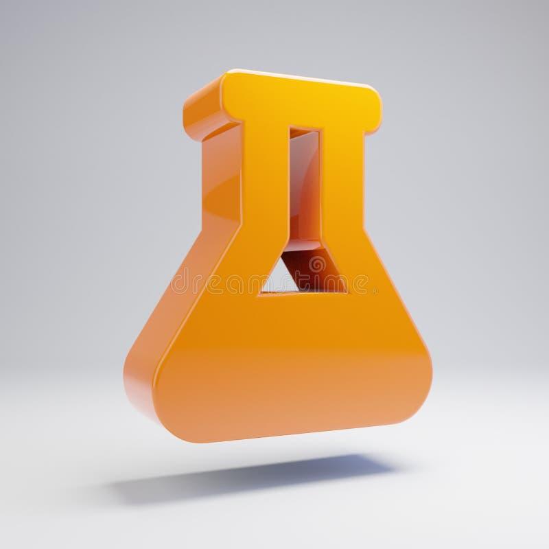 在白色背景隔绝的容量光滑的热的橙色烧瓶象 库存例证