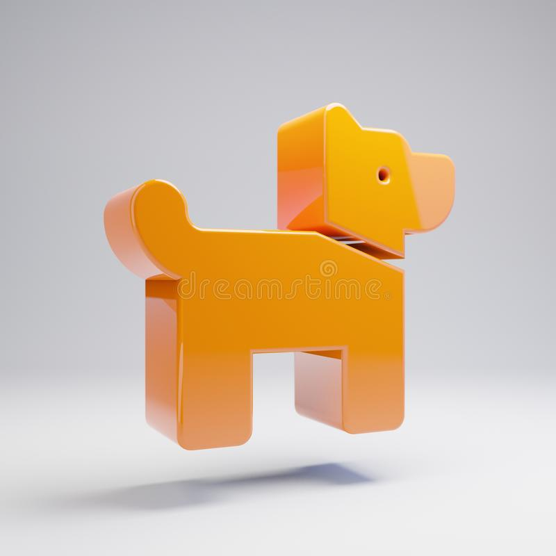 在白色背景隔绝的容量光滑的热的橙色狗象 库存例证