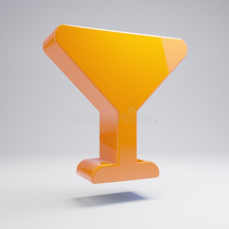 在白色背景隔绝的容量光滑的热的橙色玻璃苦艾酒象 向量例证