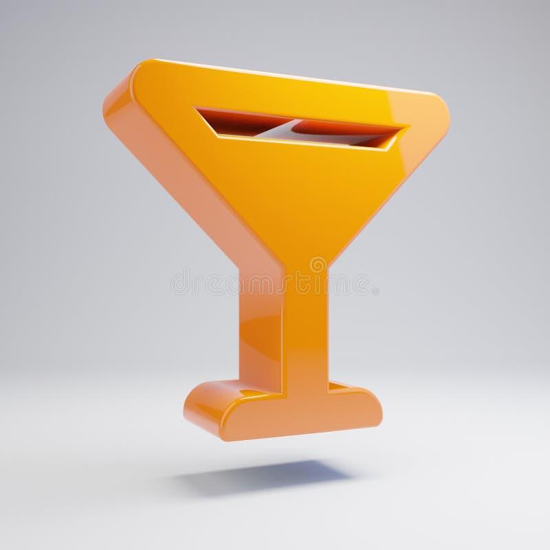 在白色背景隔绝的容量光滑的热的橙色玻璃苦艾酒象 库存例证