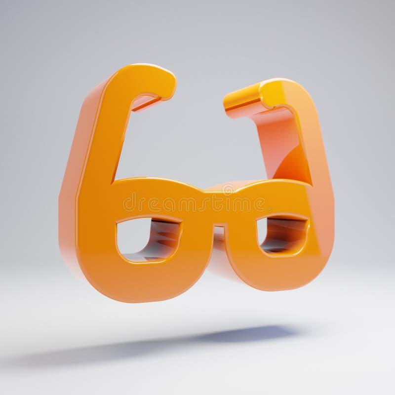 在白色背景隔绝的容量光滑的热的橙色玻璃象 向量例证