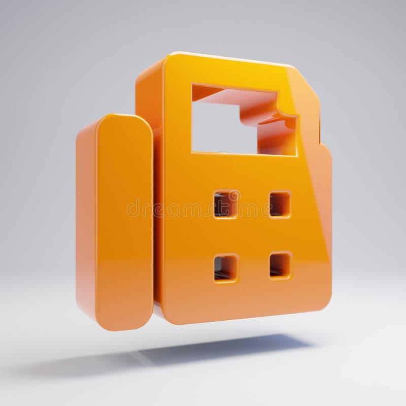 在白色背景隔绝的容量光滑的热的橙色电传象 库存例证