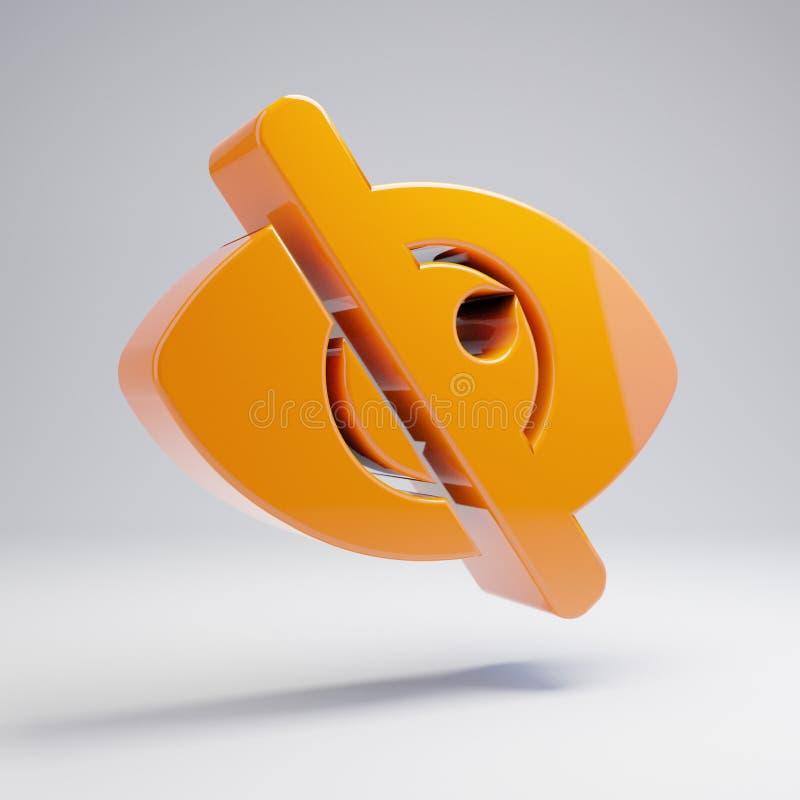 在白色背景隔绝的容量光滑的热的橙色眼睛深砍象 库存例证