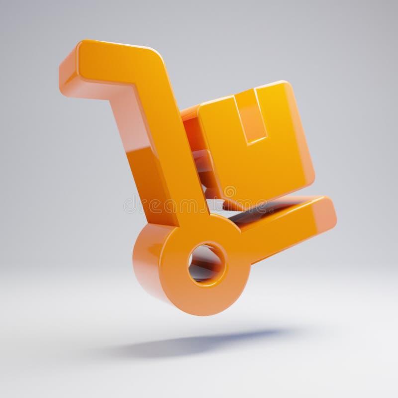 在白色背景隔绝的容量光滑的热的橙色移动式摄影车象 向量例证