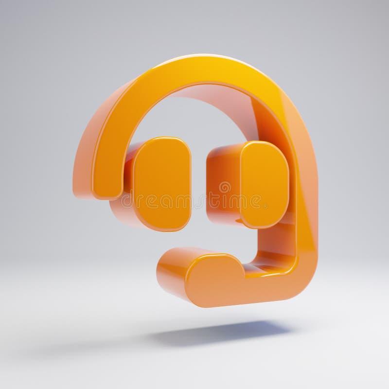 在白色背景隔绝的容量光滑的热的橙色耳机象 皇族释放例证