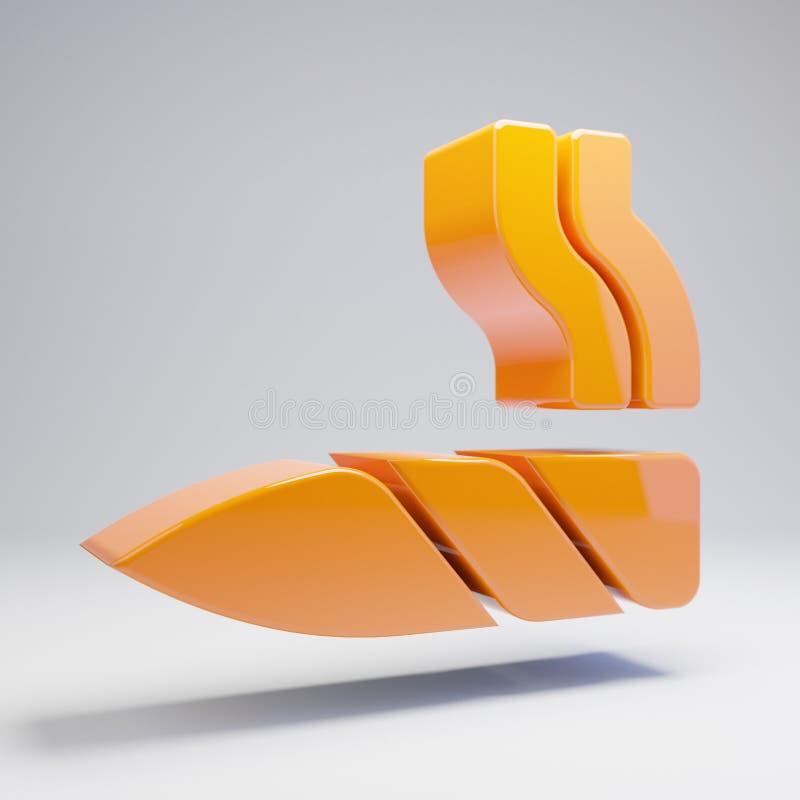 在白色背景隔绝的容量光滑的热的橙色联合象 皇族释放例证