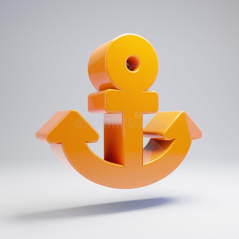 在白色背景隔绝的容量光滑的热的橙色船锚象 向量例证