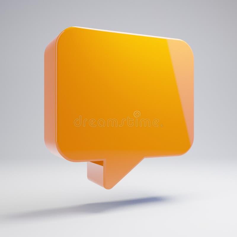 在白色背景隔绝的容量光滑的热的橙色评论象 向量例证
