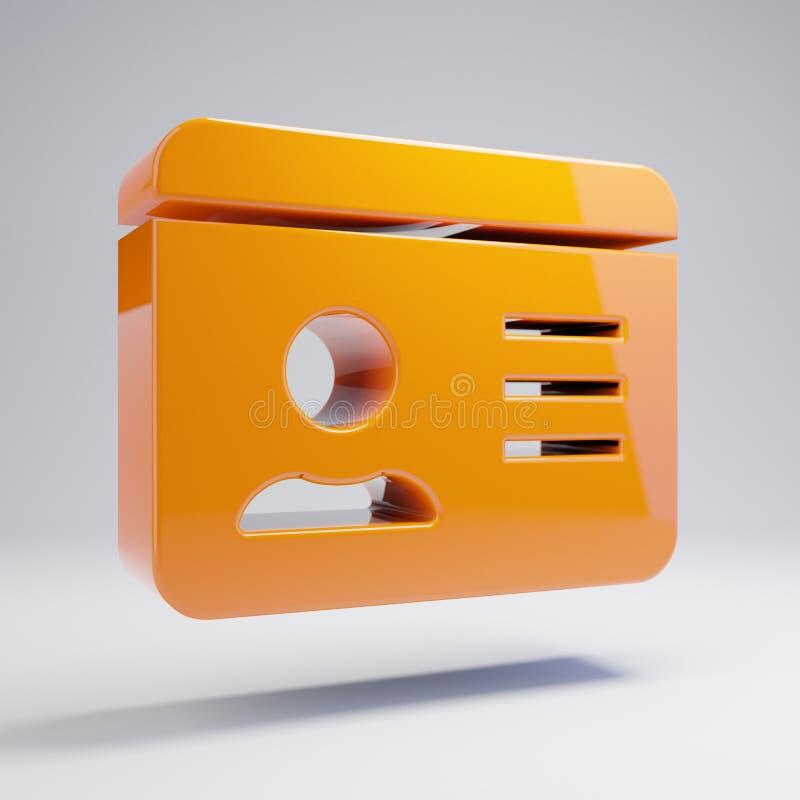 在白色背景隔绝的容量光滑的热的橙色身份证象 库存例证