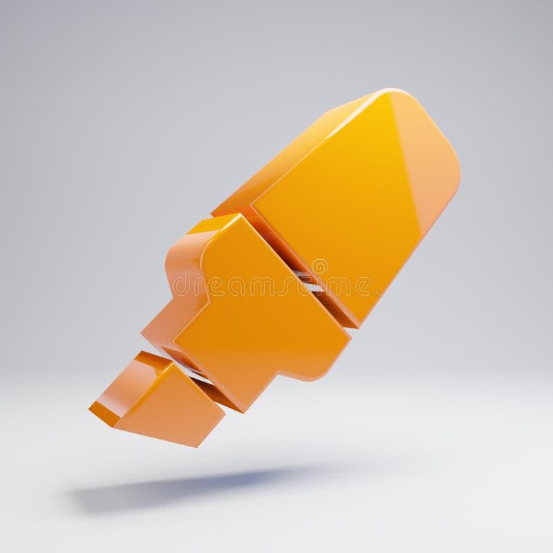 在白色背景隔绝的容量光滑的热的橙色轮廓色_象 向量例证