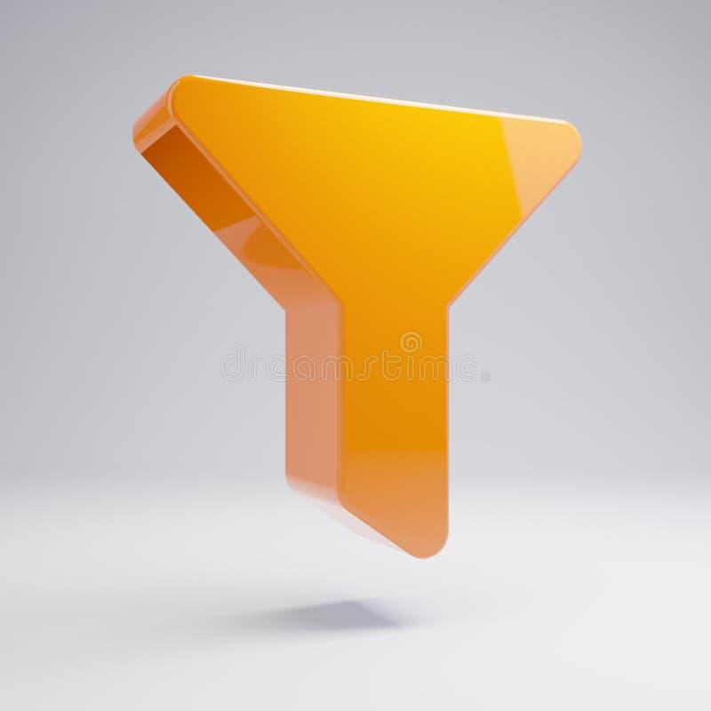 在白色背景隔绝的容量光滑的热的橙色过滤器象 库存例证