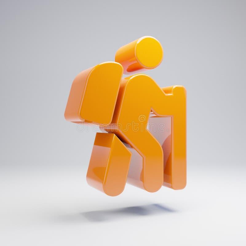 在白色背景隔绝的容量光滑的热的橙色远足的象 皇族释放例证