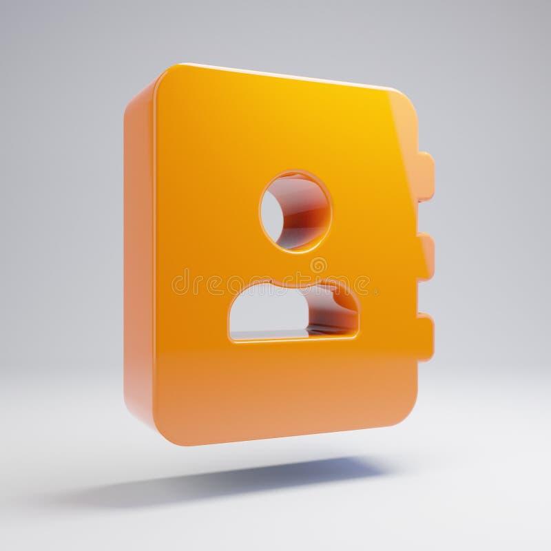 在白色背景隔绝的容量光滑的热的橙色通讯录象 库存例证