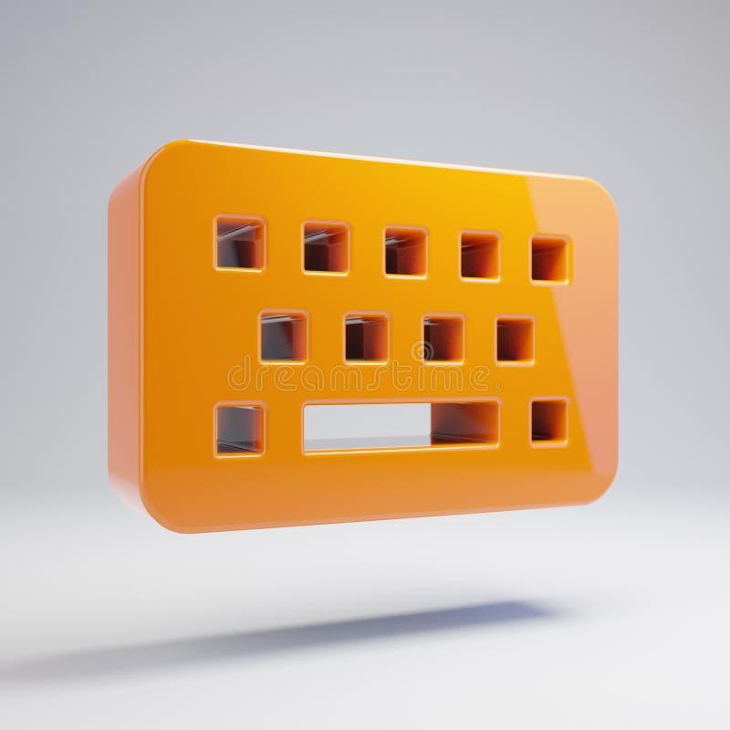 在白色背景隔绝的容量光滑的热的橙色键盘象 库存例证