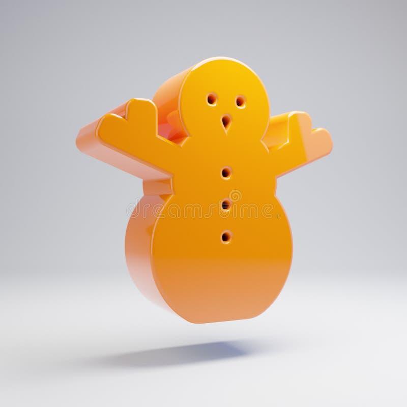 在白色背景隔绝的容量光滑的热的橙色雪人象 皇族释放例证